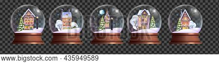 Christmas Crystal Ball Set, Vector X-mas Holiday Snow Globe Kit, Winter Realistic Magic Bubble, Litt