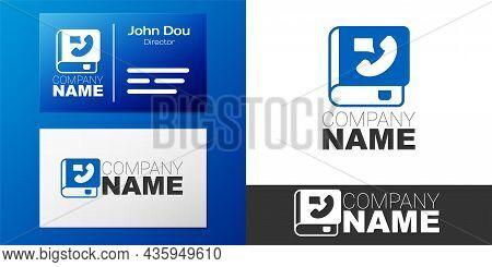 Logotype Phone Book Icon Isolated On White Background. Address Book. Telephone Directory. Logo Desig