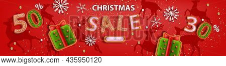 Christmas Holiday Sale Banner, Vector X-mas Discount Background, Winter Promotional Offer Poster. De