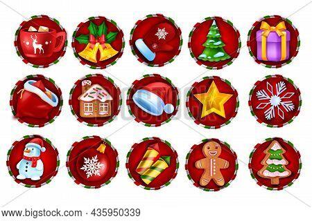 Christmas Winter Game Slot Icon, Vector Casino Holiday Badge Set, Web Ui X-mas Design Element Kit. N