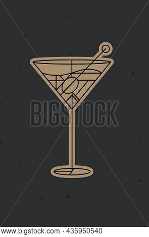 Art Deco Cocktail Dirty Martini Drawing In Line Style On Dark Background