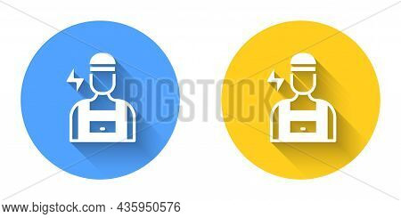 White Electrician Technician Engineer Icon Isolated With Long Shadow Background. Circle Button. Vect