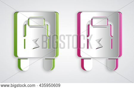 Paper Cut Electrical Panel Icon Isolated On Grey Background. Switch Lever. Paper Art Style. Vector