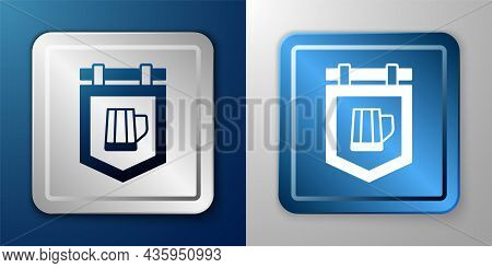 White Street Signboard With Glass Of Beer Icon Isolated On Blue And Grey Background. Suitable For Ad