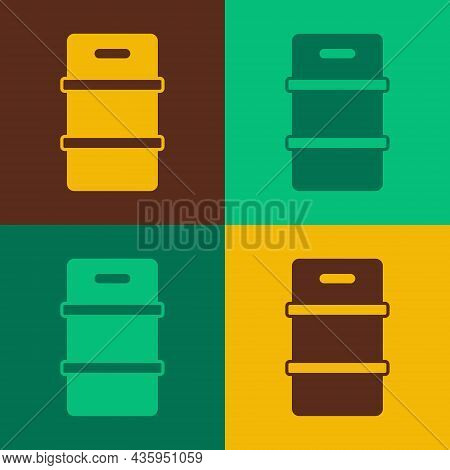 Pop Art Metal Beer Keg Icon Isolated On Color Background. Vector
