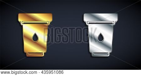 Gold And Silver Water Filter Cartridge Icon Isolated On Black Background. Long Shadow Style. Vector