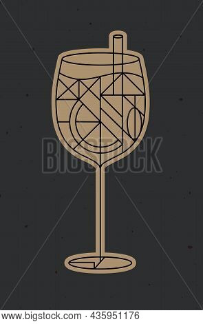 Art Deco Cocktail Spritz Drawing In Line Style On Dark Background