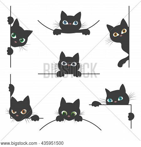 Spy Cat. Curious Black Cats Silhouettes Peeking From White Corner, Cute Hiding Kitty Pets Faces With