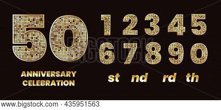 Glitter Anniversary Numbers. Gold Sparkles Number Alphabet, Golden Glittered Metal Aninversary Glamo
