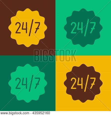 Pop Art Clock 24 Hours Icon Isolated On Color Background. All Day Cyclic Icon. 24 Hours Service Symb