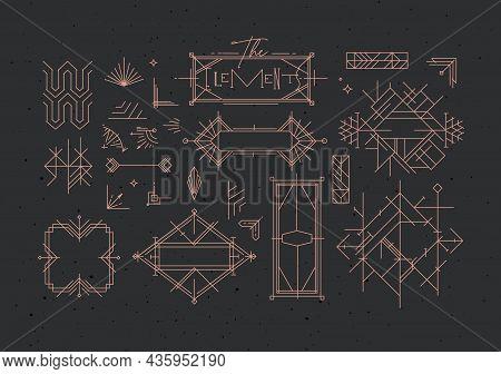 Art Deco Vintage Design Elements Drawing In Line Style On Dark Background