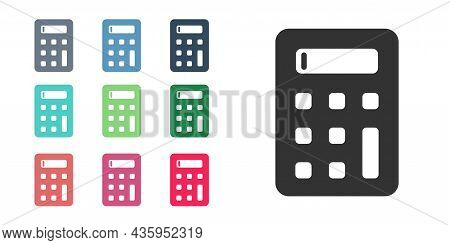 Black Calculator Icon Isolated On White Background. Accounting Symbol. Business Calculations Mathema