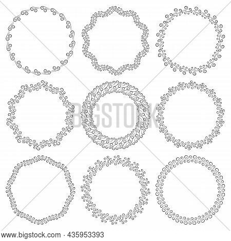 Vector Set Of Round Empty Elegant Frames In Art Deco Style. Collection Of Blank Circles With Curls I
