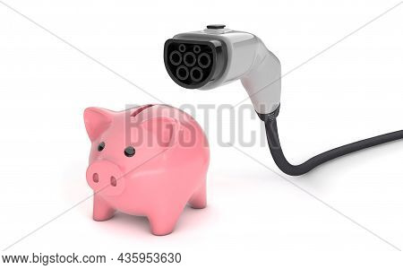 Piggy Bank And Plug For Electric Car. The Concept Of Saving Money, Cheap Fuel. Isolated On White Bac