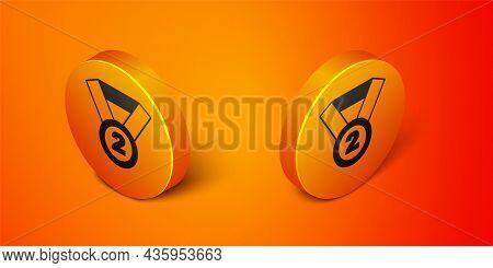 Isometric Medal Icon Isolated On Orange Background. Winner Symbol. Orange Circle Button. Vector