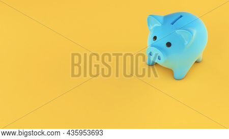 Blue Piggy Bank On A Yellow Background. Copy Space For Text. 3d Render