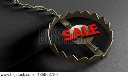 Sale Trap. The Red Word Sale As Bait In A Trap. 3d Render