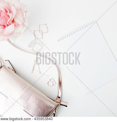 Minimal Style. Minimalist Fashion Photography. Decorative Flat Lay Composition With Cosmetics, Women