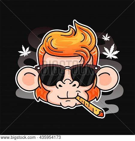 Cute Smile Funny Monkey Smoking Weed Joint. Vector Cartoon Character Flat Line Illustration. Isolate