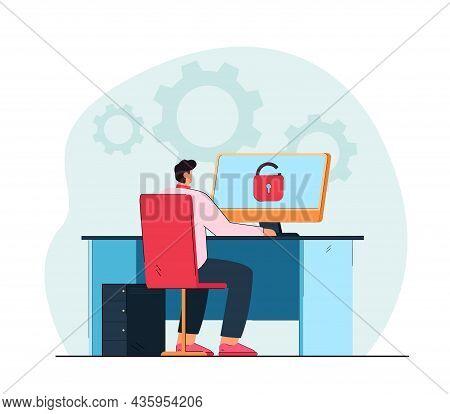 Man Sitting At Desk And Unlocking Computer. Computer Settings, Login Flat Vector Illustration. Moder