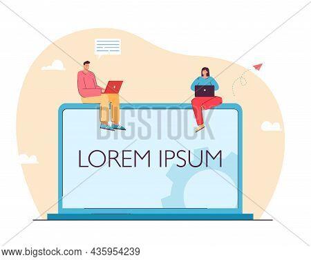 Tiny Characters Sitting On Laptop With Lorem Ipsum Title. Designers Choosing Print Flat Vector Illus