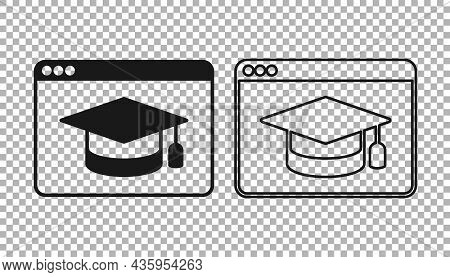 Black Online Education And Graduation Icon Isolated On Transparent Background. Online Teacher On Mon