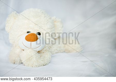 Teddy Smile Bear Lying In The Bed