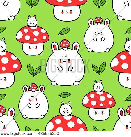 Cute Funny Bunny And Amanita Mushroom Seamless Pattern. Vector Hand Drawn Cartoon Kawaii Character I