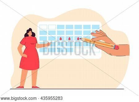 Tiny Woman Marking Her Period In Calendar Using Pencil. Critical Days Schedule Flat Vector Illustrat