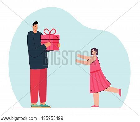 Father Giving Present To His Daughter Who Stretching Her Hands. Family Holiday Event, Birthday Celab