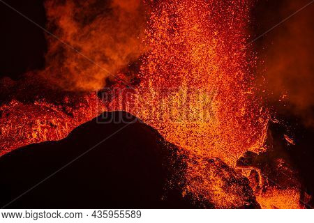 Lava Shoots Up As It Erupts From The Crater Of The Volcanic Eruption In Iceland. Details From The Cr