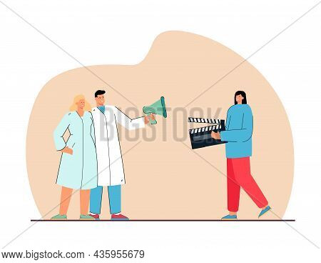 Assistant With Clapper Standing Near Actors Who Holding Megaphone. Filmmaking Scene Flat Vector Illu