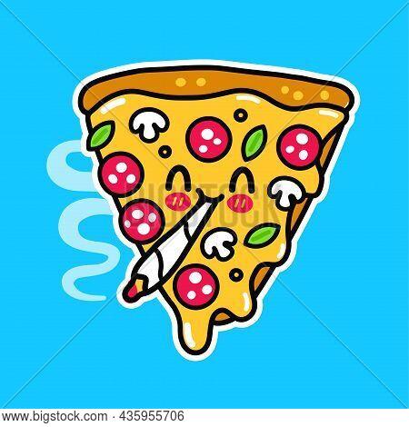 Funny Happy Pizza Slice Smoking Weed Marijuana Joint. Vector Doodle Line Cartoon Kawaii Character Il