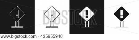Set Exclamation Mark In Square Frame Icon Isolated On Black And White Background. Hazard Warning Sig