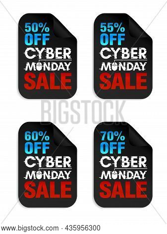 Set Of Cyber Monday Sale Stickers. Cyber Monday Sale 50%, 55%, 60%, 70% Off. Vector Illustration