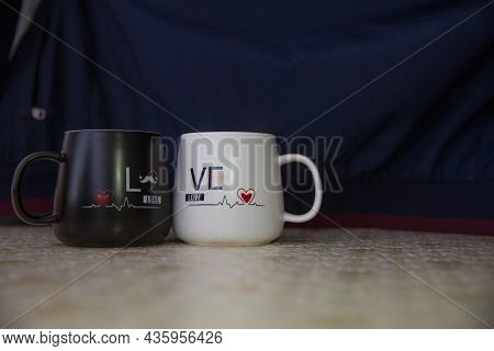 Love Mug Cup Black Backgrounds . White And Black Colored Cup I Love You . Mr. Handsome Mrs. Beautifu