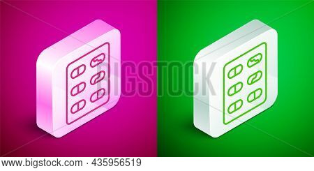 Isometric Line Pills In Blister Pack Icon Isolated On Pink And Green Background. Medical Drug Packag