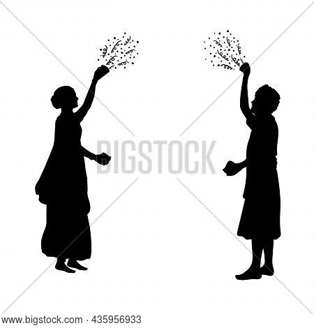 Silhouettes Indian Man And Woman Scattering Paints. Happy Holi. Holi Hindu Festival. Illustration Sy