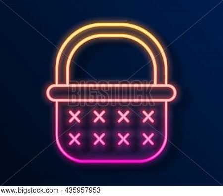 Glowing Neon Line Wicker Basket Icon Isolated On Black Background. Vector