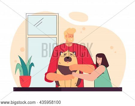 Father Presenting Pet To His Daughter. Man And His Child Petting Dog Flat Vector Illustration. Famil