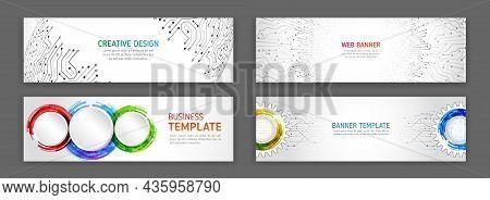 Abstract Web Design Banner. Modern Graphic Template For Websites. High Tech Futuristic Technology Ba