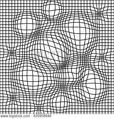 Black And White Distorted Grid Seamless Pattern. Vector Illustration. Deforn Grid, Distortion, Techn
