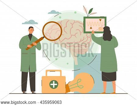 Man And Woman Study Brain Activity. Medical Research Microscope. Head Tomography. Chemical Experimen