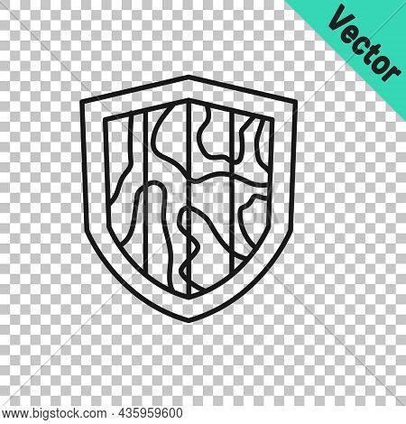 Black Line Shield Icon Isolated On Transparent Background. Guard Sign. Security, Safety, Protection,