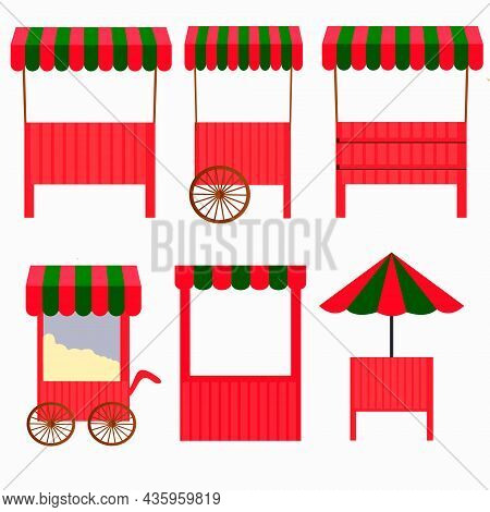 Set For The Fair. Street Market Counters And Kiosks, Trays. Mobile Counter Isolated,.under A Roof An