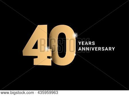 Anniversary 40. Gold 3d Numbers. Poster Template For Celebrating 40th Anniversary Event Party.