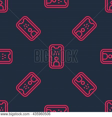 Red Line Taxi Driver License Icon Isolated Seamless Pattern On Black Background. Vector