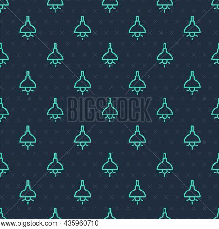 Green Line Lamp Hanging Icon Isolated Seamless Pattern On Blue Background. Ceiling Lamp Light Bulb.