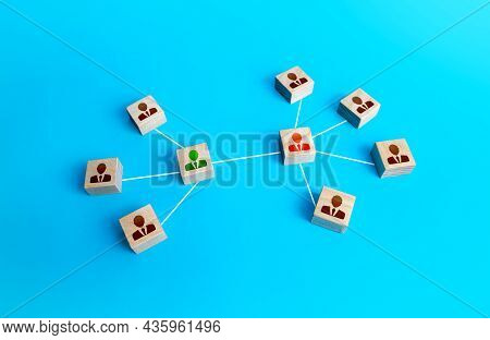 Groups Of People Communicate Through Representatives. Communication Between Team Leaders. Cooperatio
