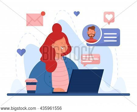 Cartoon Girl Searching For Romantic Partner Using Laptop. Woman Sitting At Computer And Trying To Fi